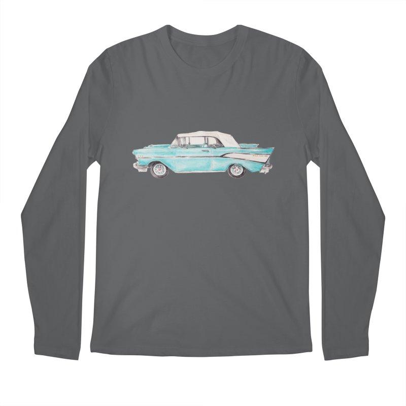 1957 Vintage Car Turquoise Belair Convertible Men's Longsleeve T-Shirt by Wandering Laur's Artist Shop