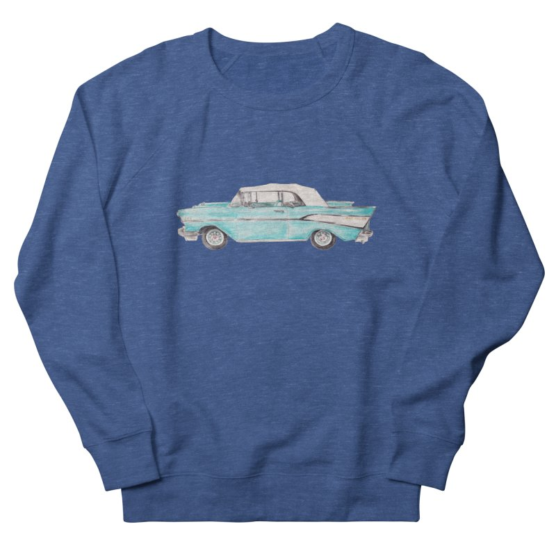 1957 Vintage Car Turquoise Belair Convertible Men's Sweatshirt by Wandering Laur's Artist Shop