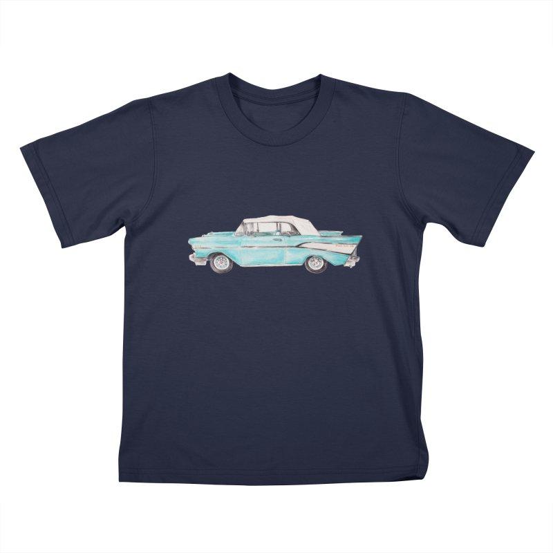 1957 Vintage Car Turquoise Belair Convertible Kids T-Shirt by Wandering Laur's Artist Shop