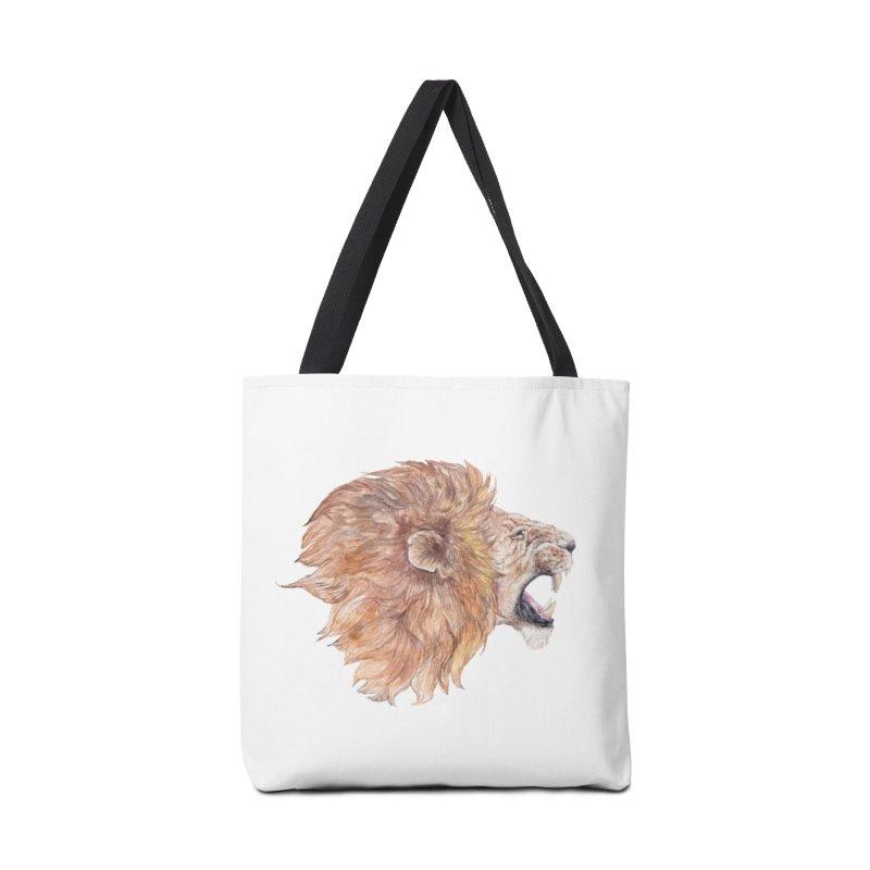 Roaring Watercolor Lion Accessories Bag by Wandering Laur's Artist Shop