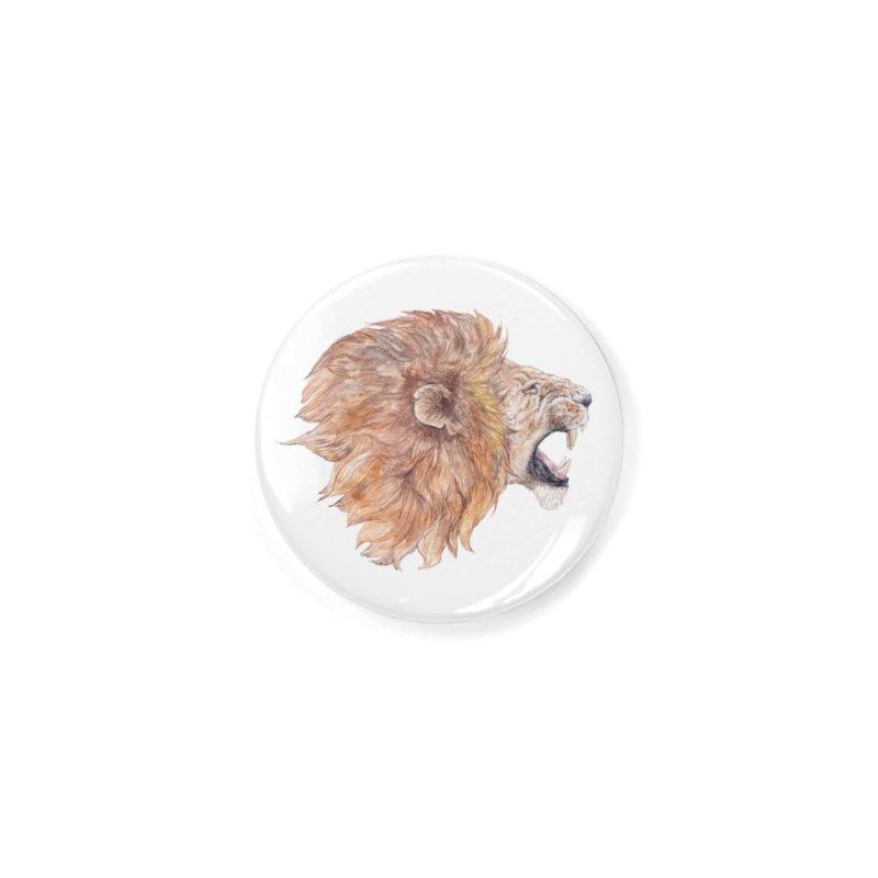 Roaring Watercolor Lion Accessories Button by Wandering Laur's Artist Shop