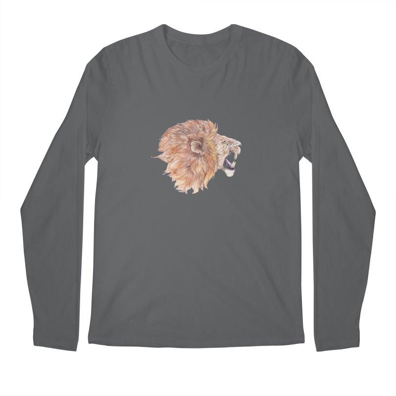 Roaring Watercolor Lion Men's Longsleeve T-Shirt by Wandering Laur's Artist Shop