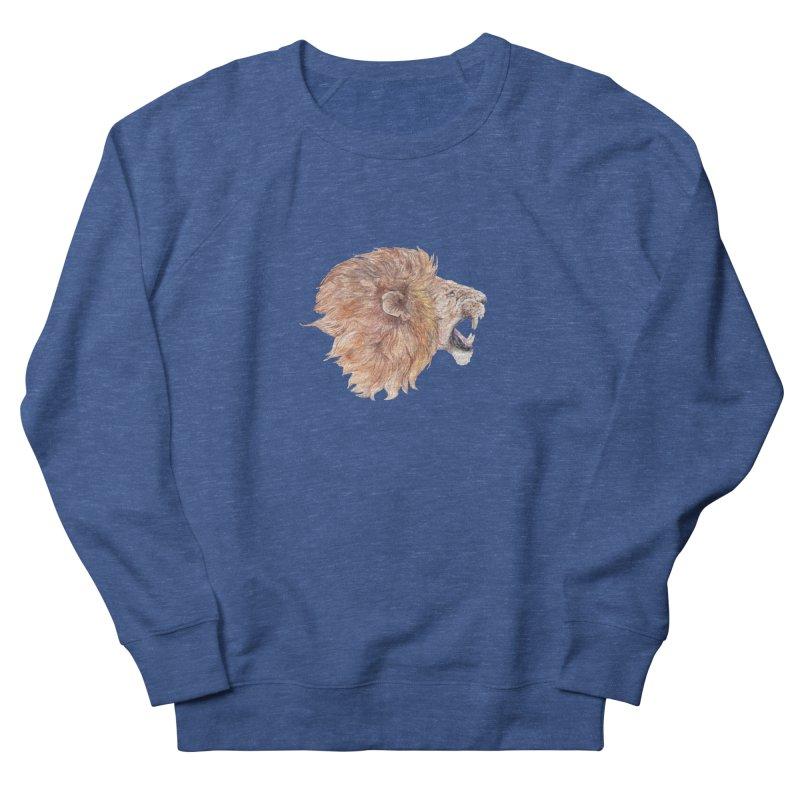Roaring Watercolor Lion Men's Sweatshirt by Wandering Laur's Artist Shop