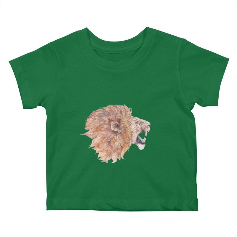 Roaring Watercolor Lion Kids Baby T-Shirt by Wandering Laur's Artist Shop
