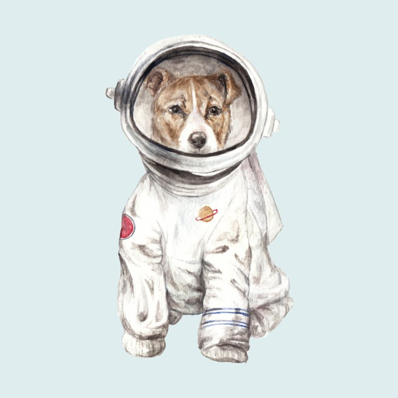 Laika Astronaut Dog In Space Watercolor by Wandering Laur's Artist Shop