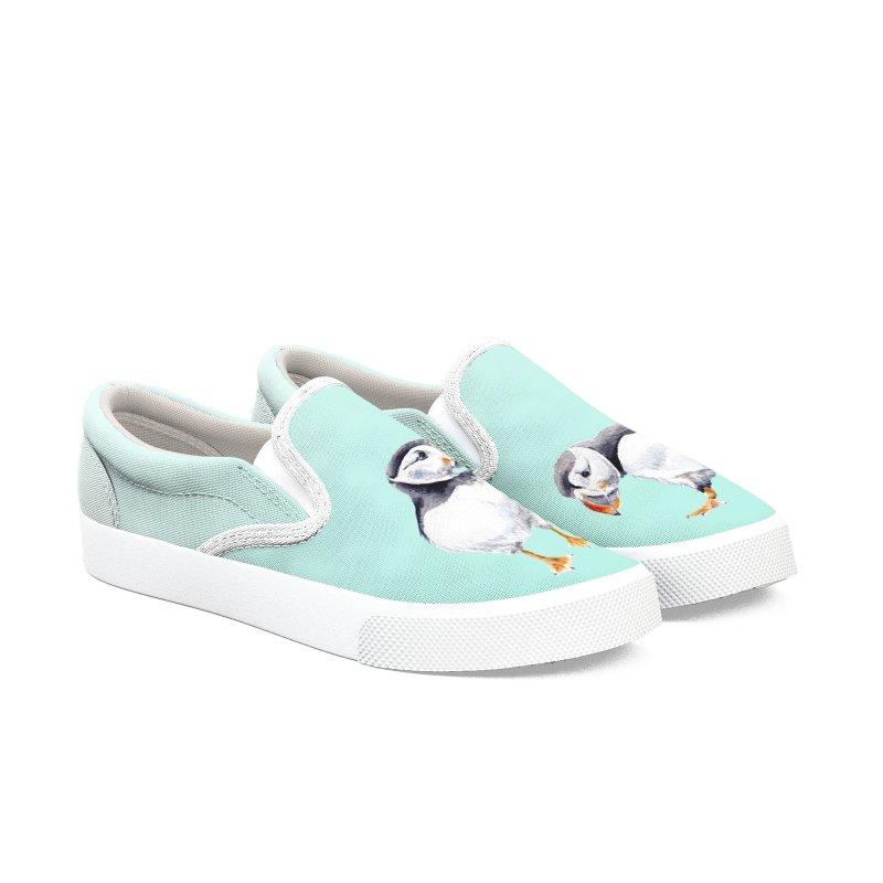 Watercolor Puffins Women's Shoes by Wandering Laur's Artist Shop