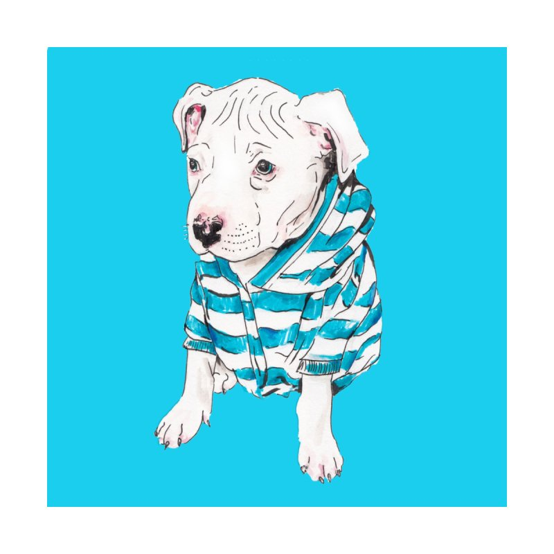 Stylish Pit Bull Puppy Illustration Pet Portrait Dog Pittie by Wandering Laur's Artist Shop