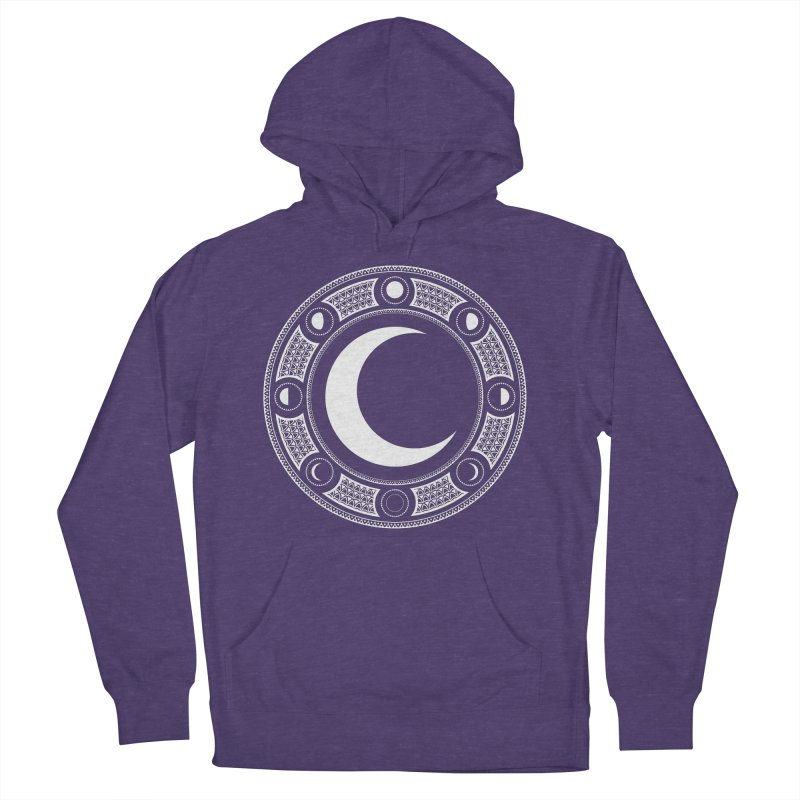 Crescent Moon Emblem Women's French Terry Pullover Hoody by Wandering Moon