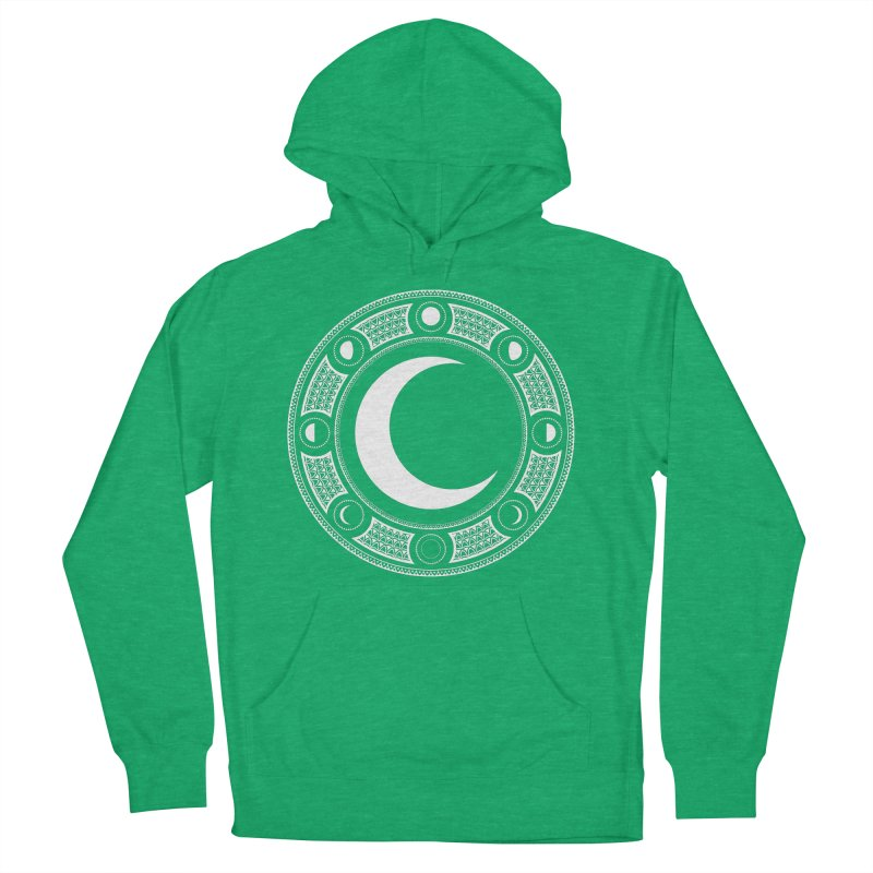 Crescent Moon Emblem Men's French Terry Pullover Hoody by Wandering Moon