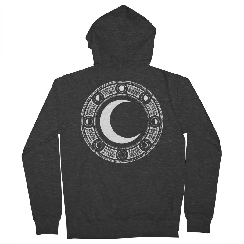 Crescent Moon Emblem Women's French Terry Zip-Up Hoody by Wandering Moon