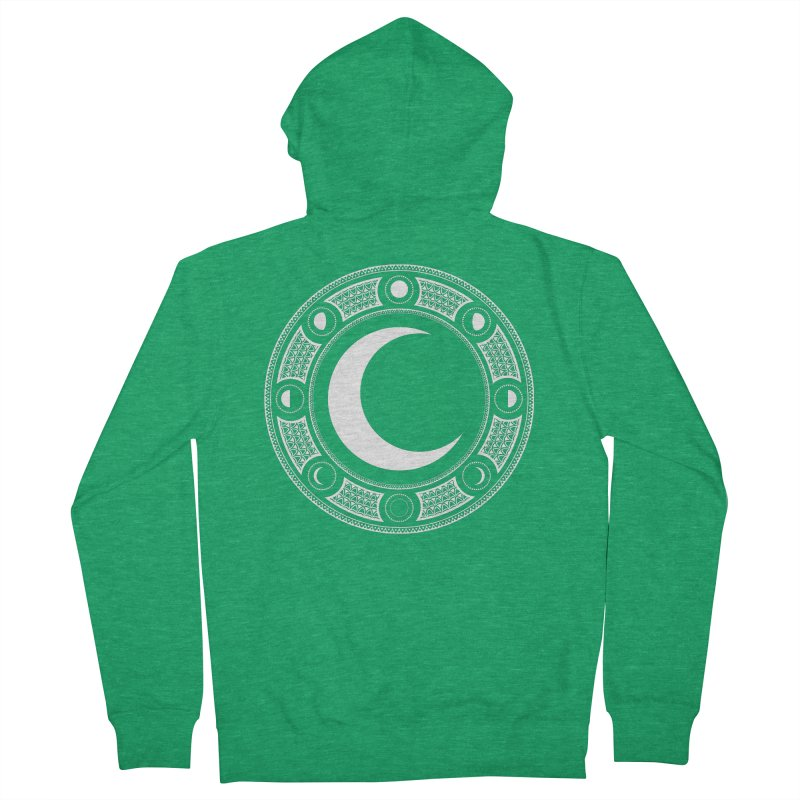 Crescent Moon Emblem Men's French Terry Zip-Up Hoody by Wandering Moon