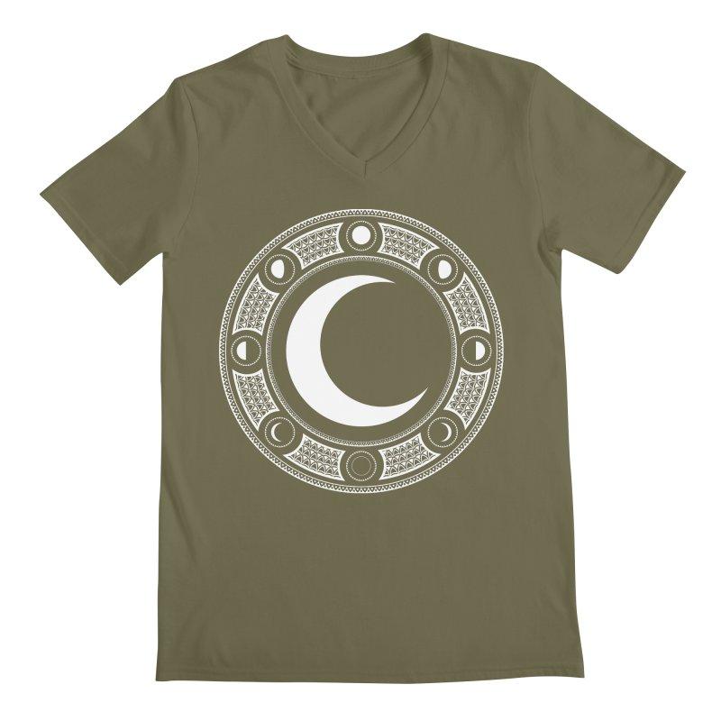 Crescent Moon Emblem Men's Regular V-Neck by Wandering Moon