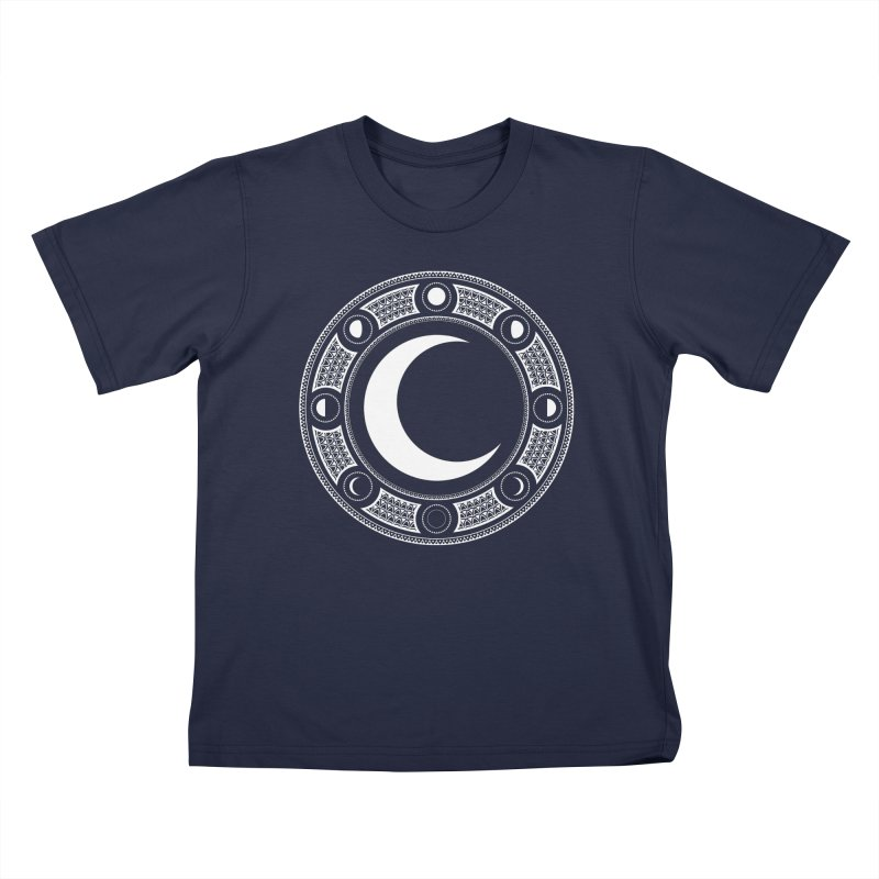 Crescent Moon Emblem Kids T-Shirt by Wandering Moon