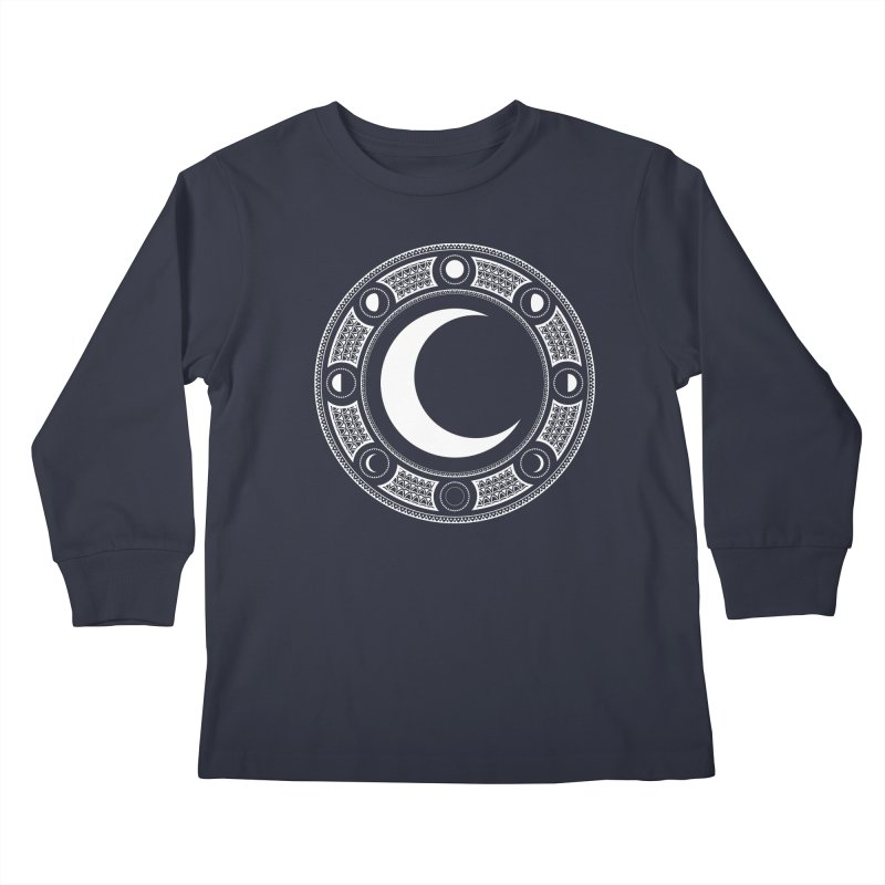 Crescent Moon Emblem Kids Longsleeve T-Shirt by Wandering Moon