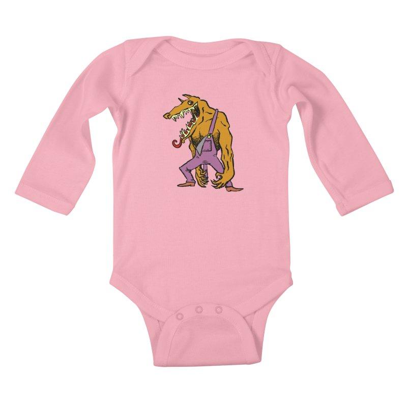 Over Therewolf Kids Baby Longsleeve Bodysuit by Wander Lane Threadless Shop