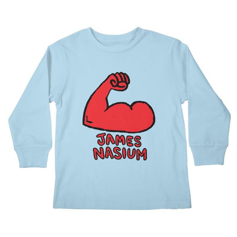 James Nasium Red Kids Longsleeve T-Shirt by Wander Lane Threadless Shop