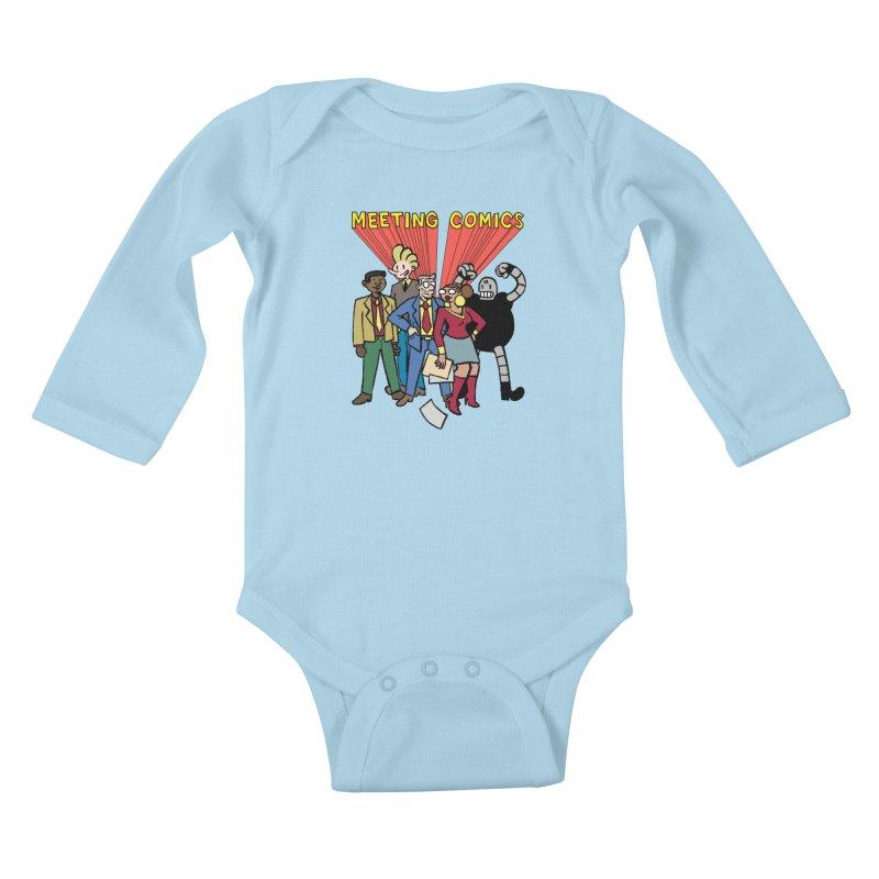 Meeting Comics Cast Kids Baby Longsleeve Bodysuit by Wander Lane Threadless Shop