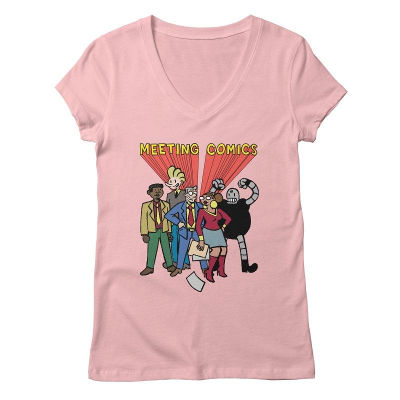 Meeting Comics Cast Women's Regular V-Neck by Wander Lane Threadless Shop