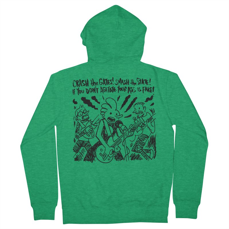 CRASH THE GATES Men's French Terry Zip-Up Hoody by Wander Lane Threadless Shop