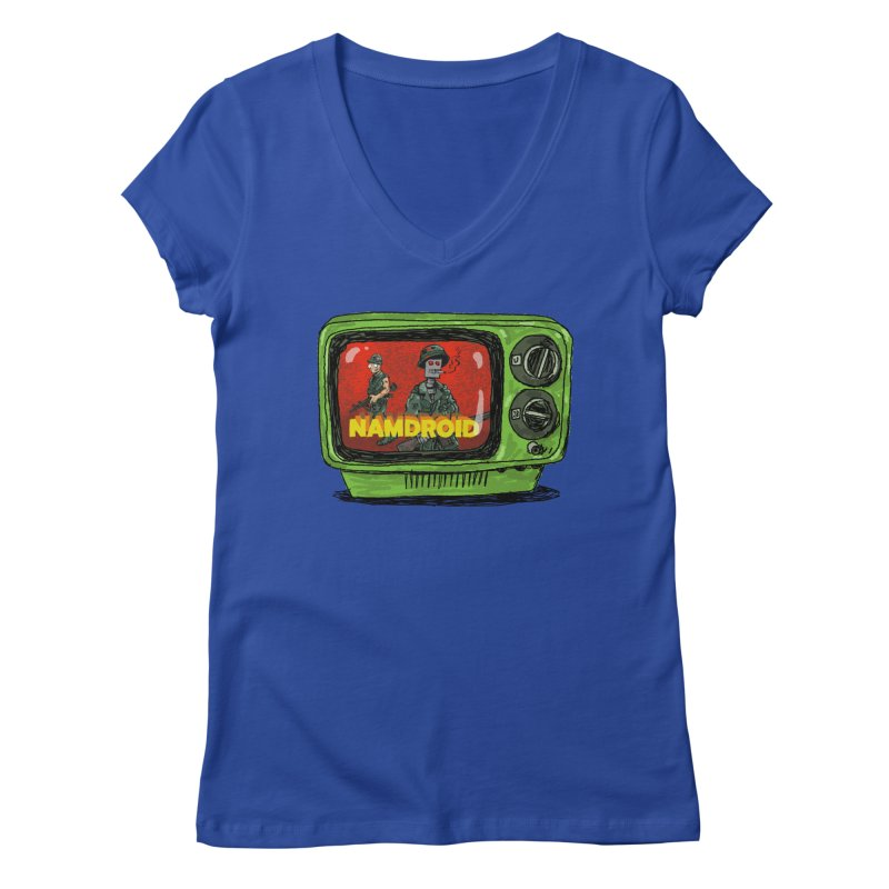Meeting Comics: NAMDROID Women's Regular V-Neck by Wander Lane Threadless Shop