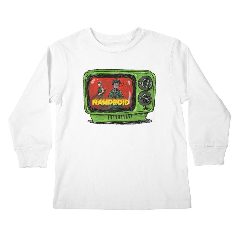 Meeting Comics: NAMDROID Kids Longsleeve T-Shirt by Wander Lane Threadless Shop