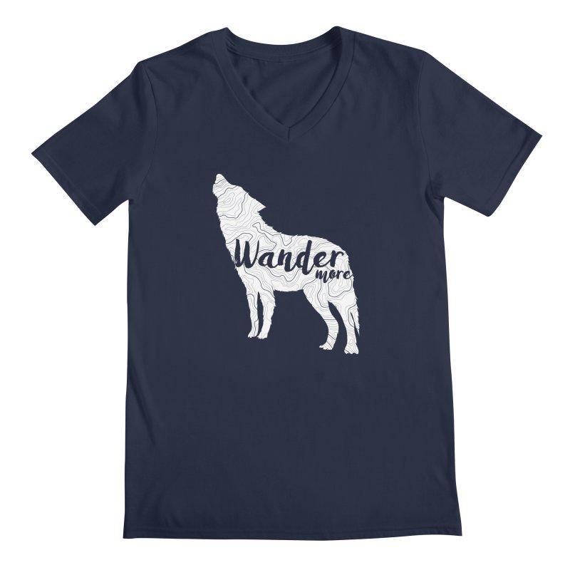The Lone Wolf - Guys Men's Regular V-Neck by Wanderluster