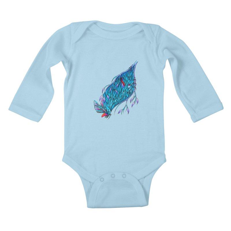Blue Kids Baby Longsleeve Bodysuit by WarduckDesign's Artist Shop