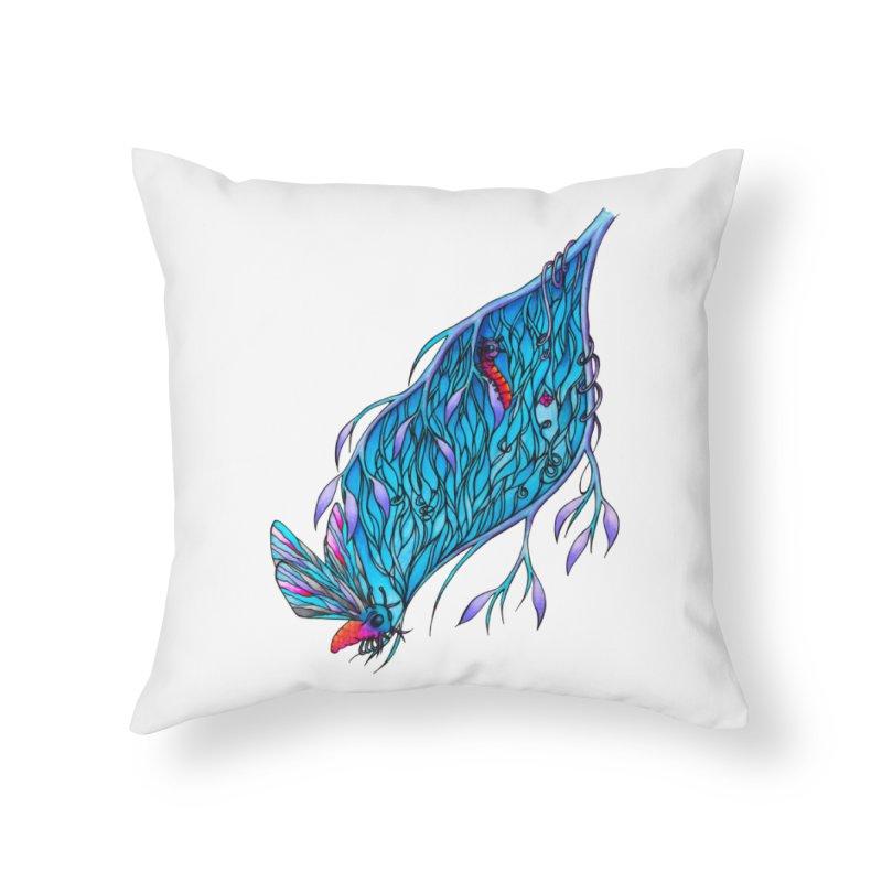 Blue Home Throw Pillow by WarduckDesign's Artist Shop