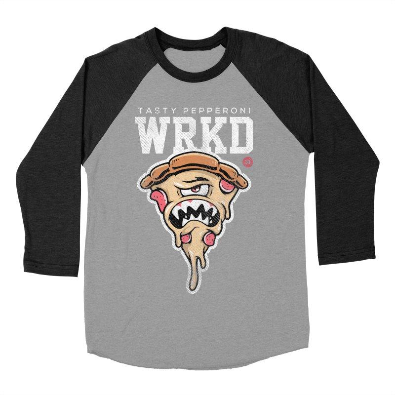 Tasty Pizza Men's Baseball Triblend Longsleeve T-Shirt by Johnny Terror's Art Shop