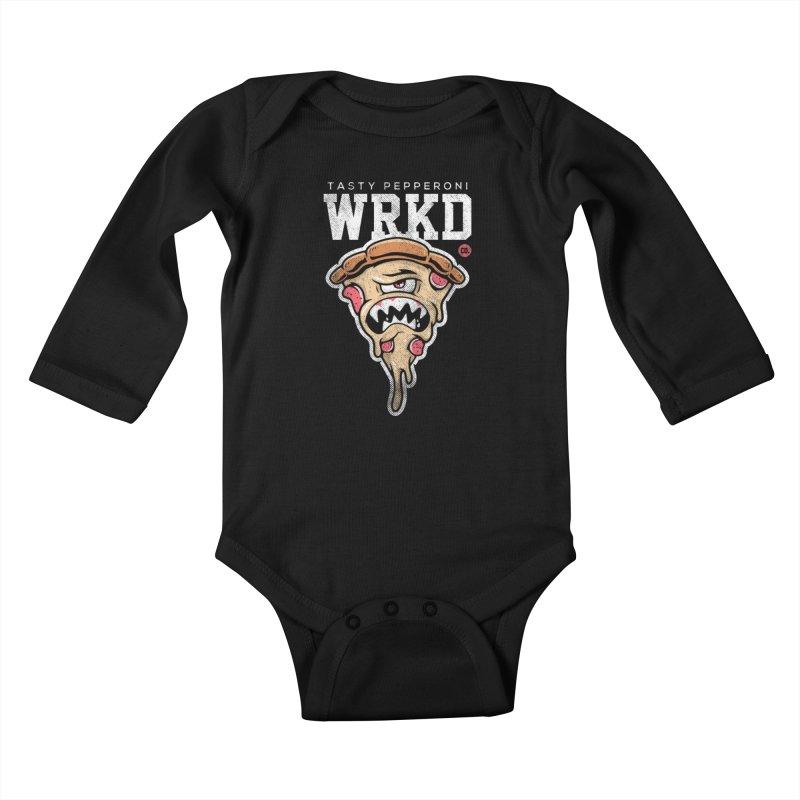 Tasty Pizza Kids Baby Longsleeve Bodysuit by Johnny Terror's Art Shop