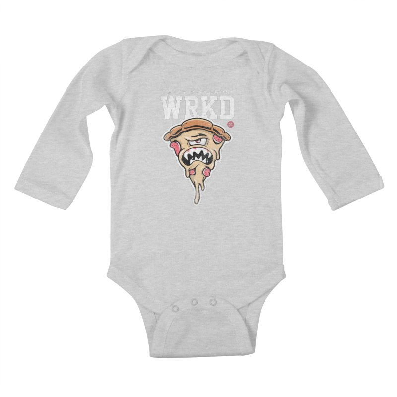 Tasty Pizza Kids Baby Longsleeve Bodysuit by Johnny Terror's Art Shop