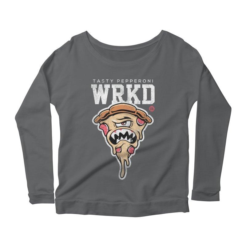 Tasty Pizza Women's Scoop Neck Longsleeve T-Shirt by Johnny Terror's Art Shop