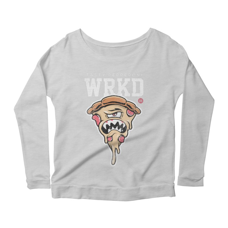 Tasty Pizza Women's Scoop Neck Longsleeve T-Shirt by Johnny Terror's Art Shop