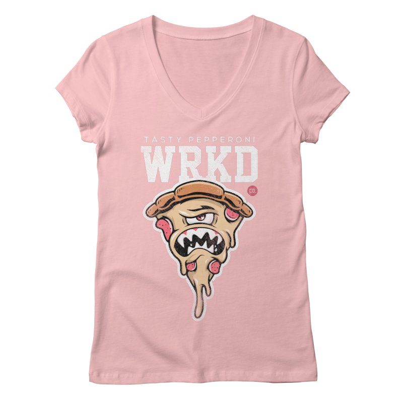 Tasty Pizza Women's Regular V-Neck by Johnny Terror's Art Shop