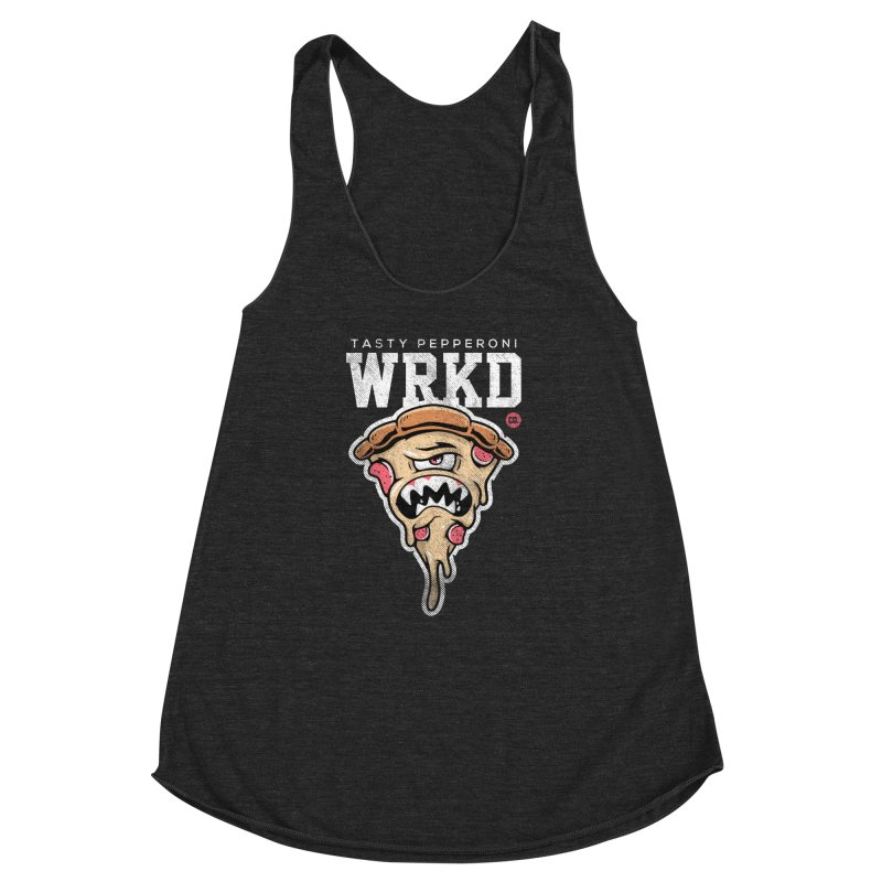 Tasty Pizza Women's Racerback Triblend Tank by Johnny Terror's Art Shop