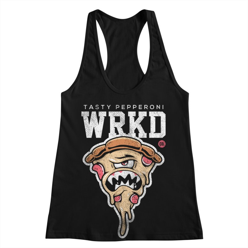 Tasty Pizza Women's Racerback Tank by Johnny Terror's Art Shop