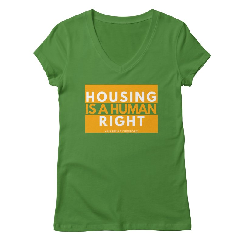 Housing is a human right Women's Regular V-Neck by warmwaynesboro's Artist Shop