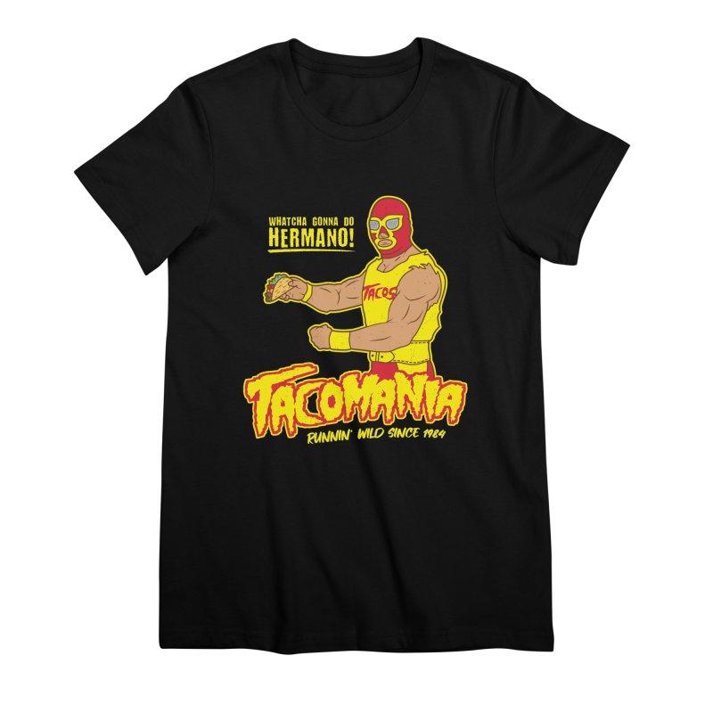 Tacomania Funny Taco Wrestling Luchador Women's Premium T-Shirt by Wasabi Snake