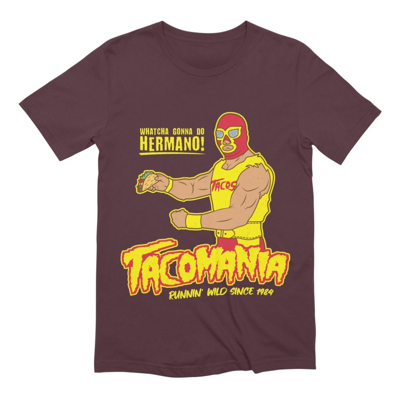 Tacomania Funny Taco Wrestling Luchador Men's Extra Soft T-Shirt by Wasabi Snake