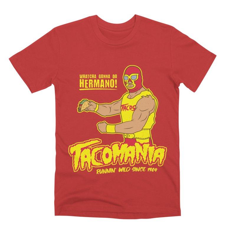 Tacomania Funny Taco Wrestling Luchador Men's Premium T-Shirt by Wasabi Snake