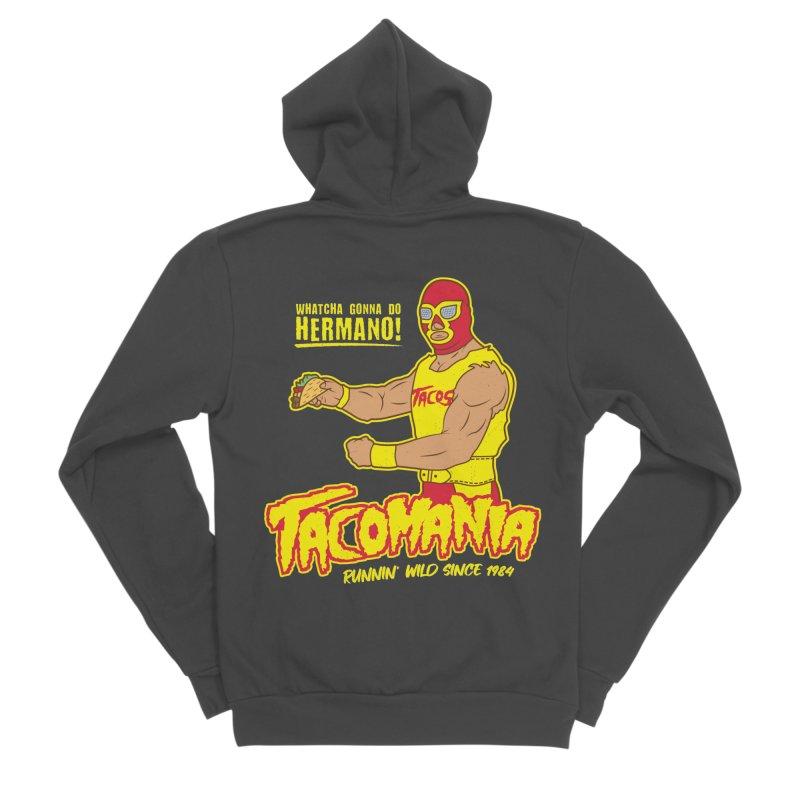 Tacomania Funny Taco Wrestling Luchador Men's Sponge Fleece Zip-Up Hoody by Wasabi Snake