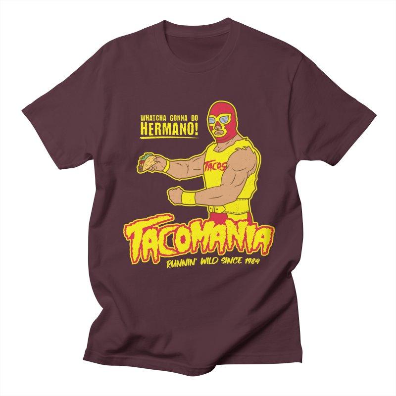 Tacomania Funny Taco Wrestling Luchador Men's Regular T-Shirt by Wasabi Snake