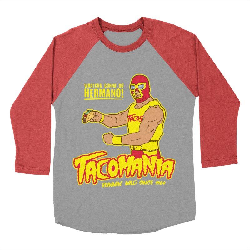 Tacomania Funny Taco Wrestling Luchador Women's Baseball Triblend Longsleeve T-Shirt by Wasabi Snake