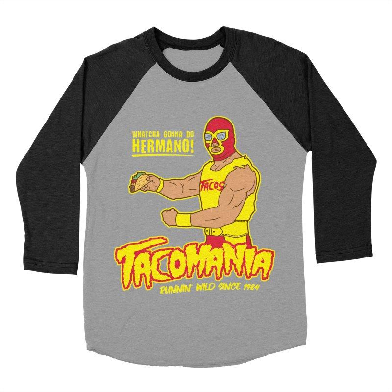 Tacomania Funny Taco Wrestling Luchador Men's Baseball Triblend Longsleeve T-Shirt by Wasabi Snake