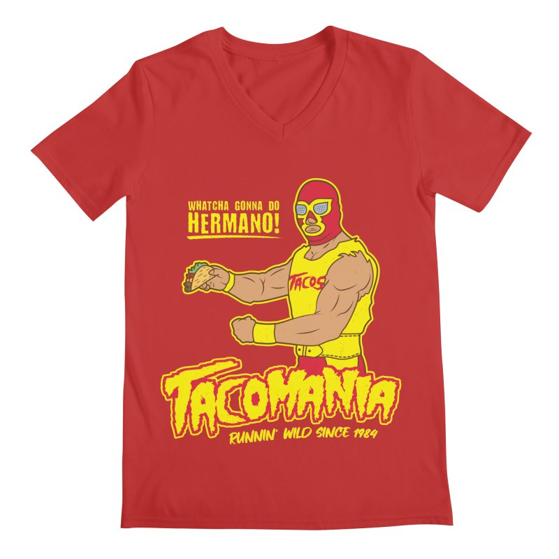 Tacomania Funny Taco Wrestling Luchador Men's Regular V-Neck by Wasabi Snake