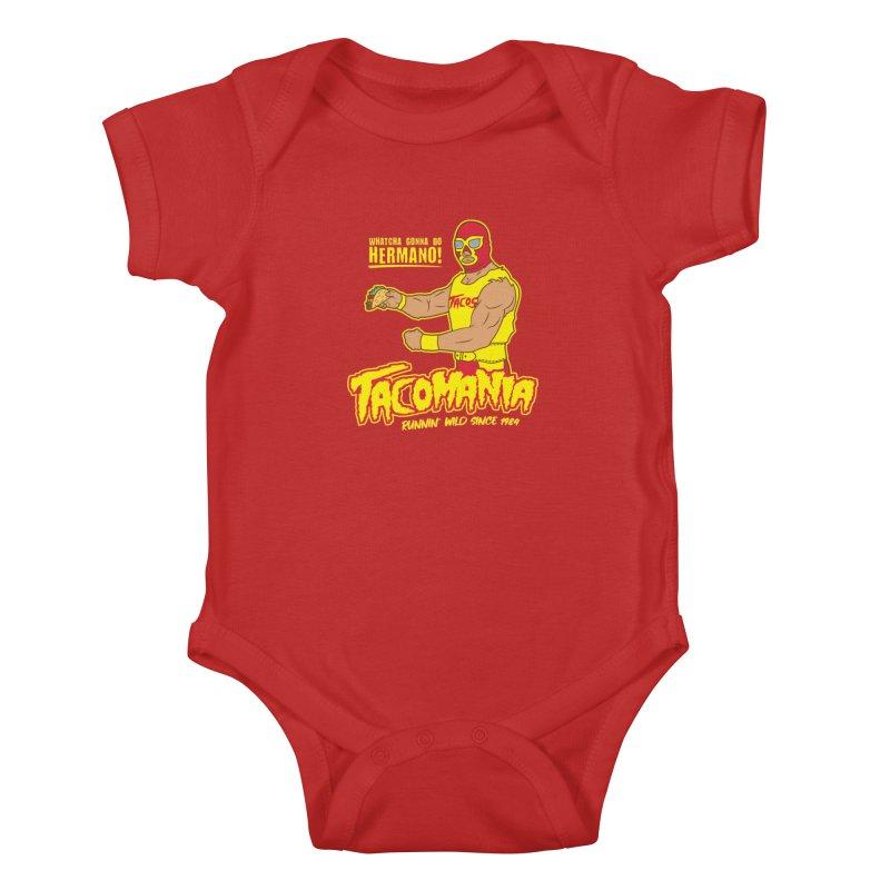 Tacomania Funny Taco Wrestling Luchador Kids Baby Bodysuit by Wasabi Snake