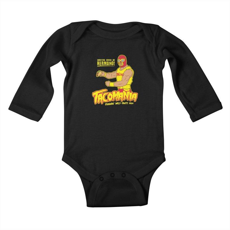 Tacomania Funny Taco Wrestling Luchador Kids Baby Longsleeve Bodysuit by Wasabi Snake