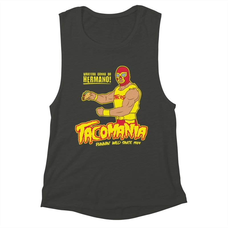 Tacomania Funny Taco Wrestling Luchador Women's Muscle Tank by Wasabi Snake