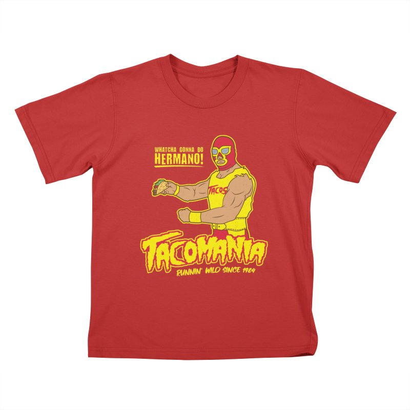 Tacomania Funny Taco Wrestling Luchador Kids T-Shirt by Wasabi Snake