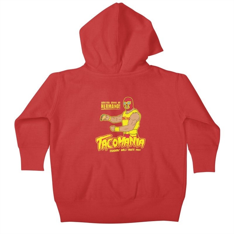 Tacomania Funny Taco Wrestling Luchador Kids Baby Zip-Up Hoody by Wasabi Snake